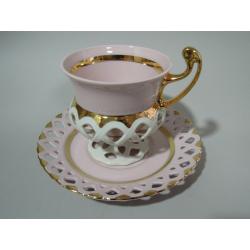 Šálek s podšálkem, Růžový porcelán - Chodov - série Byzant