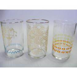 3 x sklenice - retro