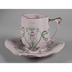 Šálek s podšálkem, Růžový porcelán - Chodov
