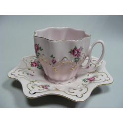 Šálek a podšálek, Růžový porcelán - Chodov